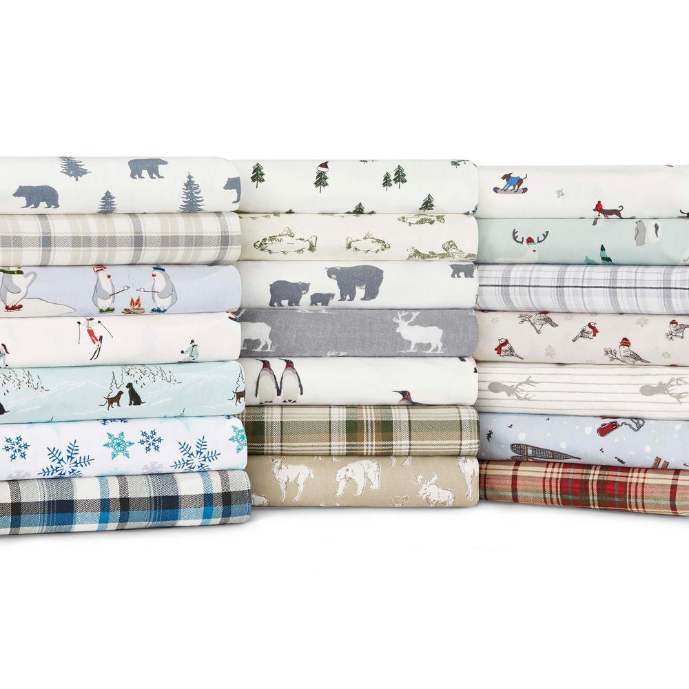 Eddie Bauer 4 Piece Dog Friends Blue Graphic Flannel Full Sheet Set 201453 The Home Depot