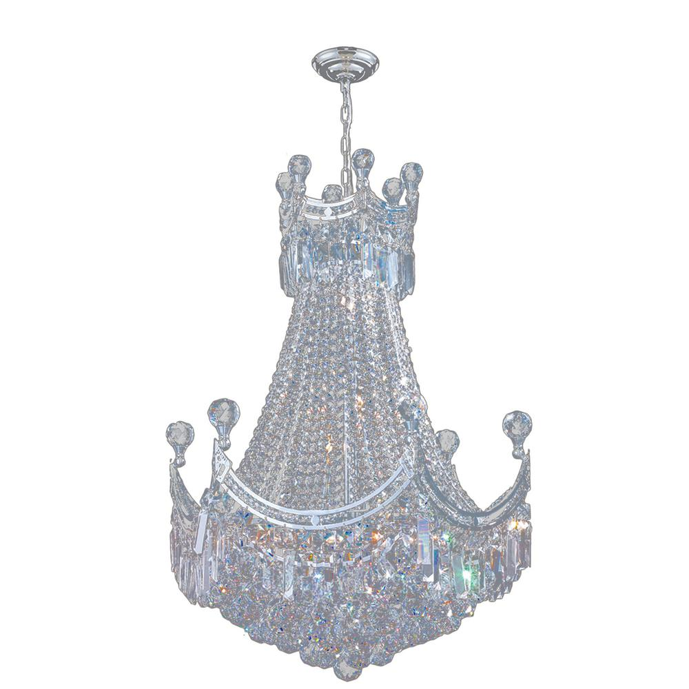 Worldwide Lighting Empire 9-Light Polished Chrome Chandelier with Clear Crystal