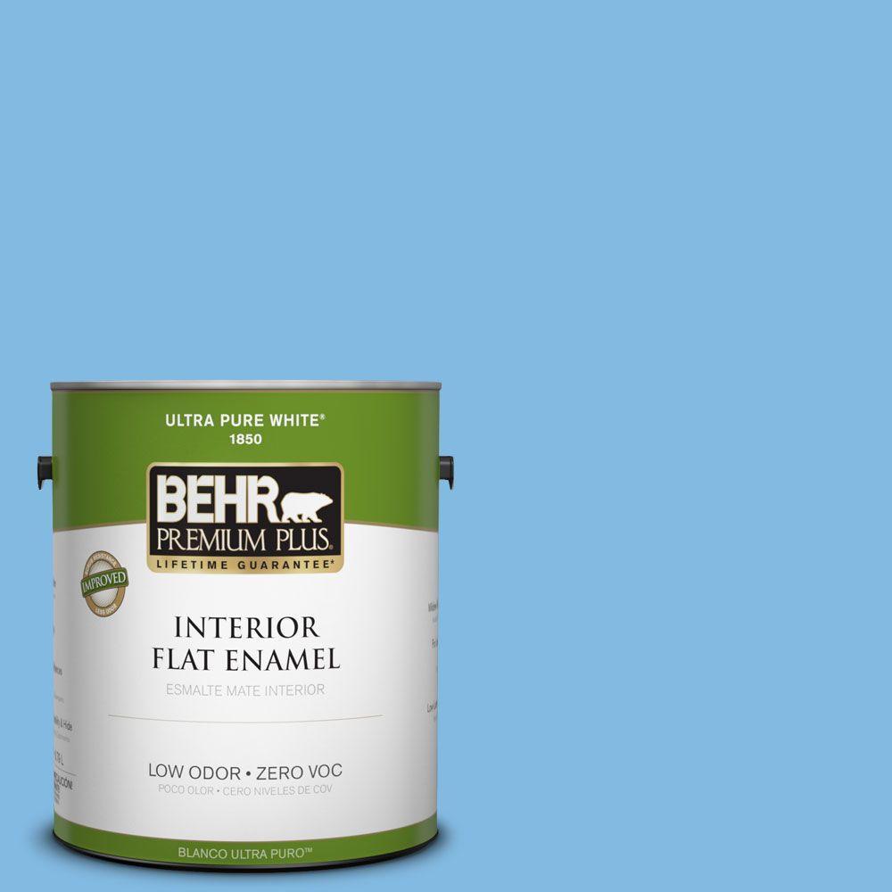 BEHR Premium Plus 1-gal. #560B-4 Enchanting Zero VOC Flat Enamel Interior Paint-DISCONTINUED
