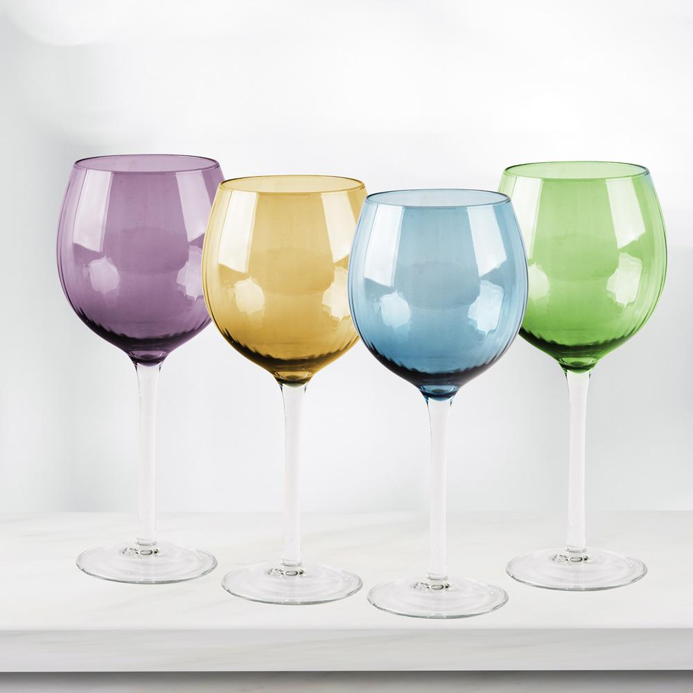 HOME ESSENTIALS AND BEYOND Jewel 4-Piece Colored Wine Glasses-6492 ...