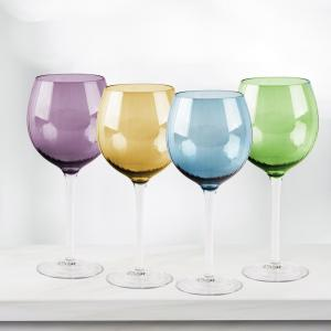 HOME ESSENTIALS AND BEYOND Jewel 4-Piece Colored Wine Glasses by HOME ESSENTIALS AND BEYOND