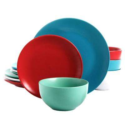 Panamera 12-Piece Assorted Matte Color Dinnerware Set