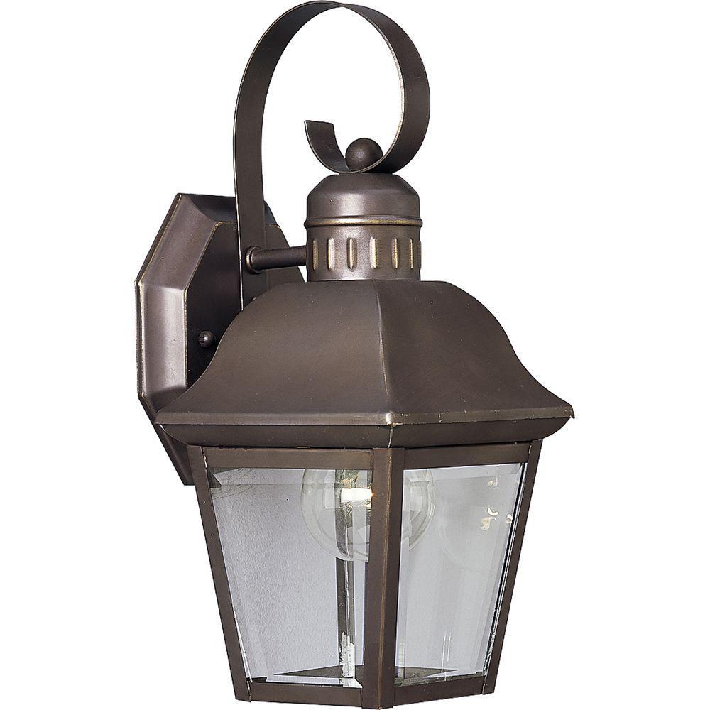 Andover Collection 1-Light Outdoor Antique Bronze Wall Lantern