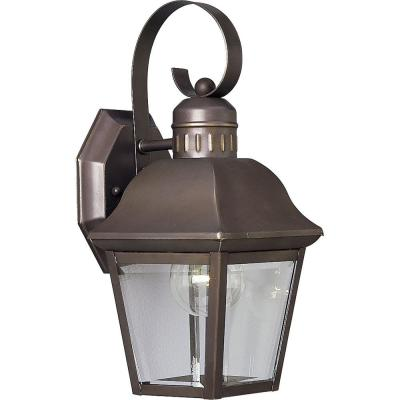 Andover Collection 1-Light 12.5 in. Outdoor Antique Bronze Wall Lantern Sconce