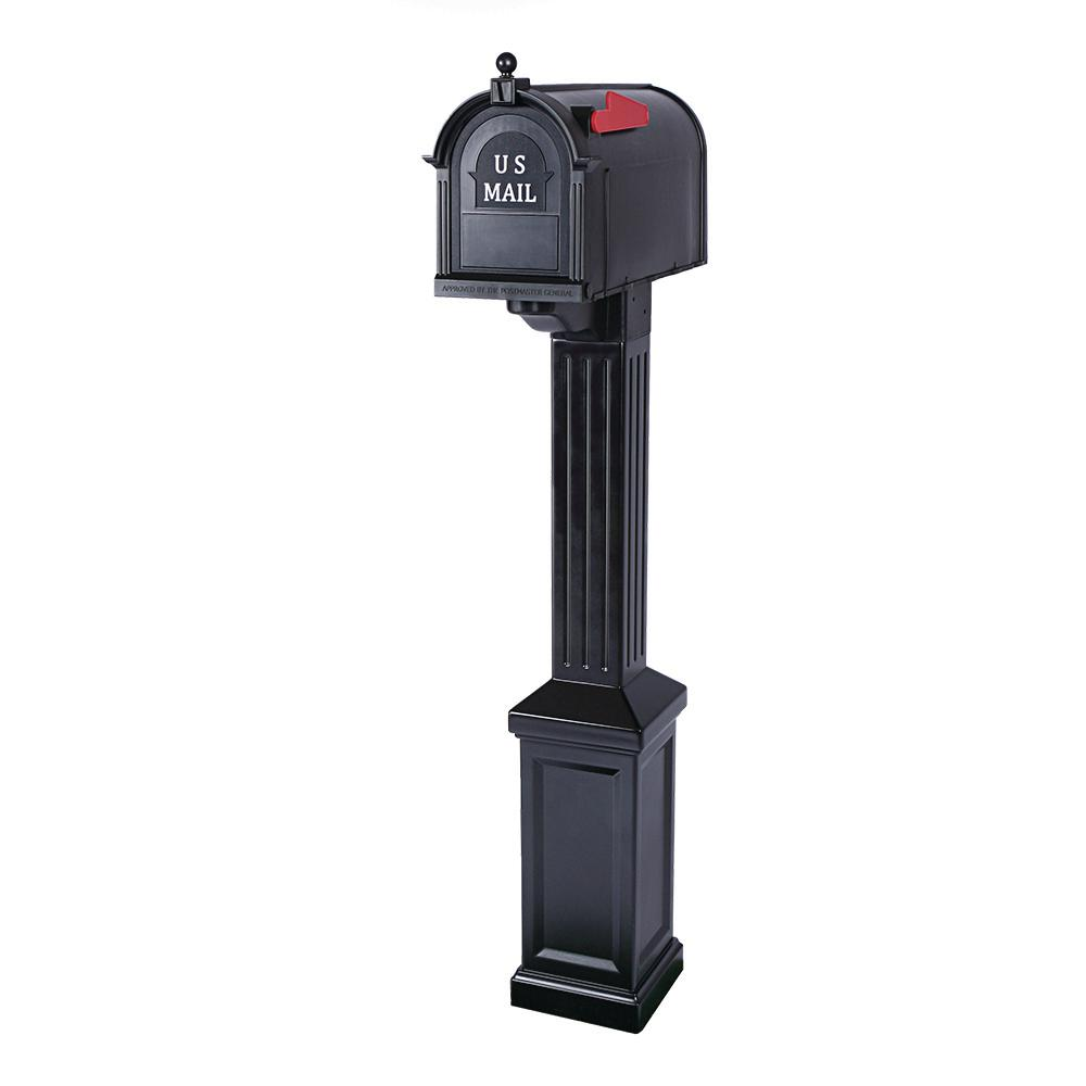 Postal Pro Craftsman Mailbox and Post Kit, Black
