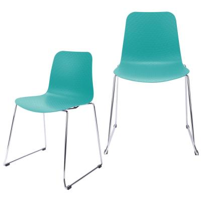 Hebe Series Turquoise Dining Shell Side Chair Molded Plastic with Steel Wire Metal Legs (Set of 2)