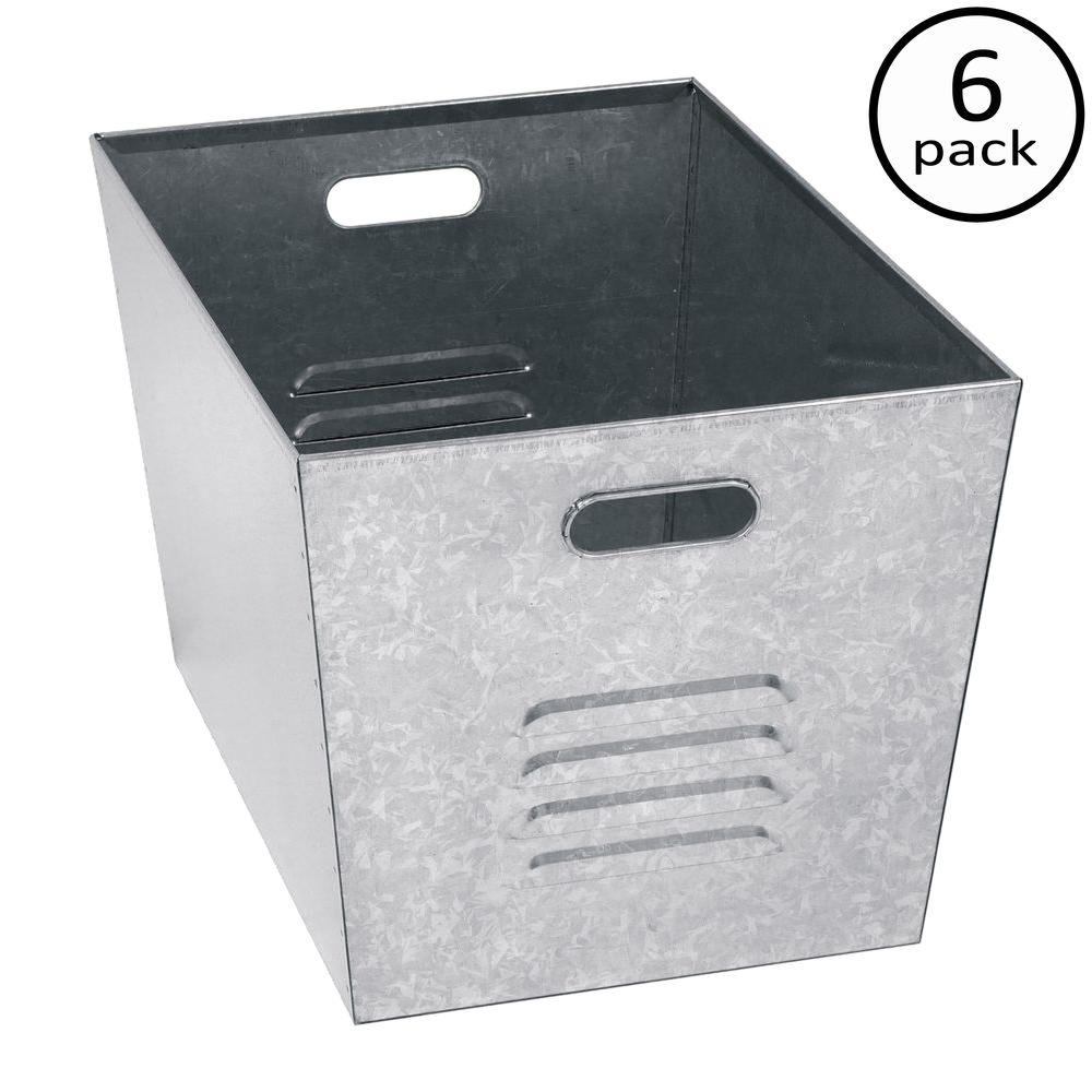 Edsal 12 in. W x 11 in. H x 17 in. D Galvanized Steel Utility Storage Bins (6-Pack)