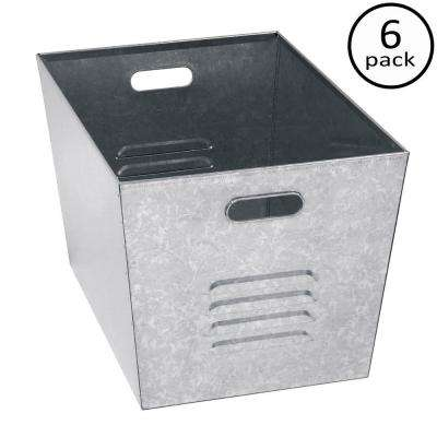 12 in. W x 11 in. H x 17 in. D Galvanized Steel Utility Storage Bins (6-Pack)