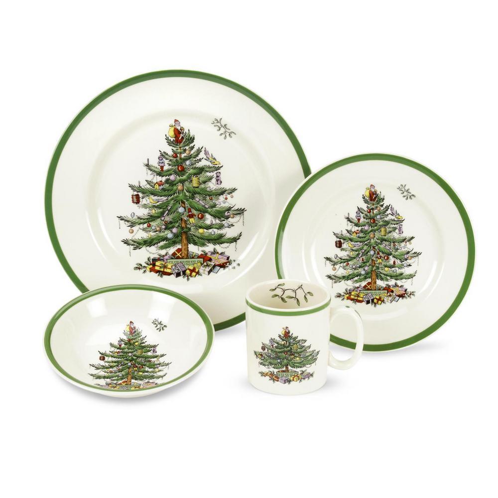 Christmas Tree 4-Piece Ceramic Dinnerware Set (Service for 1)