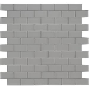 Oyster Gray Subway 11.81 in. x 11.81 in. x 8mm Glass Mesh-Mounted Mosaic Tile (9.70 sq. ft. / case)