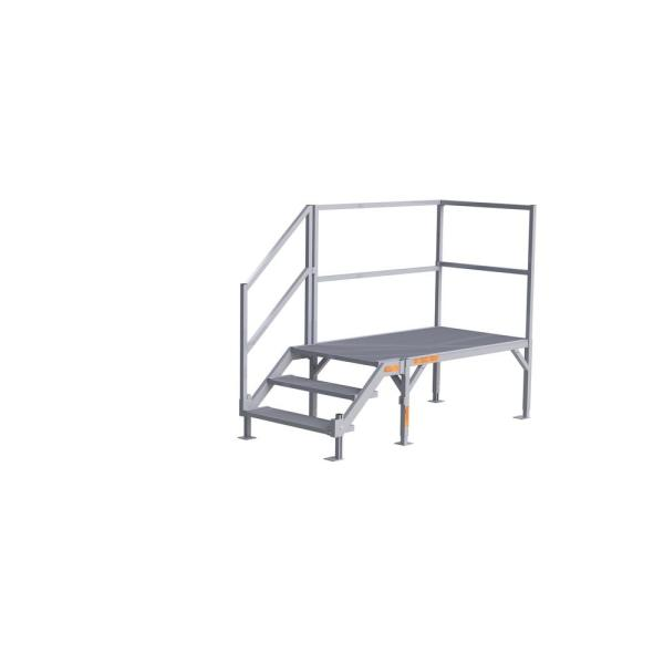 FORTRESS 23 in. to 34 in. H OSHA Compliant Aluminum 3-Riser Stair System with Platform