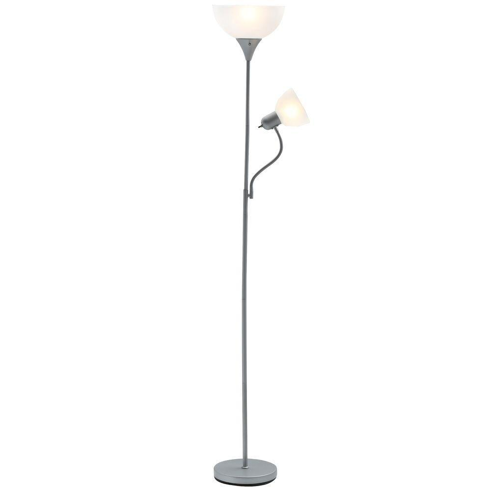 Hampton Bay 71 1/2 In. Brushed Steel Floor Lamp