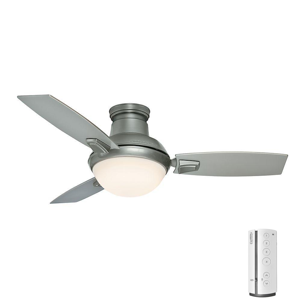 Verse 44 in. LED Indoor/Outdoor Satin Nickel Ceiling Fan with Light