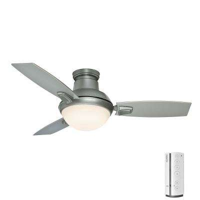 Casablanca remote control included ceiling fans lighting the led indooroutdoor satin nickel ceiling fan with light kit and aloadofball Image collections