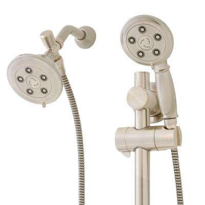 Chelsea Anystream 3-Spray Hand Shower and Fixed Showerhead Combo with ADA Grab Bar in Brushed Nickel