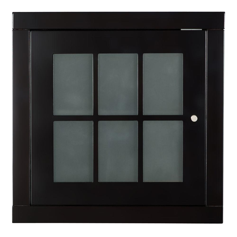 Zen Home Espresso Stack Cube Cabinet Frosted Glass Door