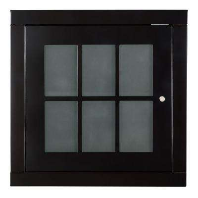 Zen 14 in. W x 18 in. H x 18 in. D Stackable Cube with Frosted Glass Door in Espresso