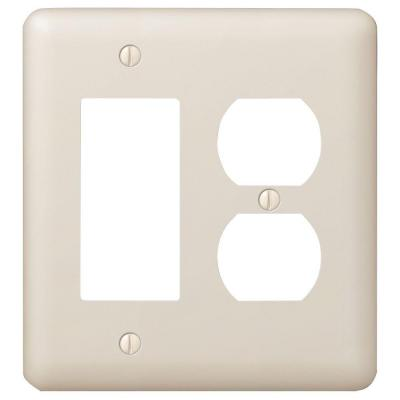 Declan 2 Gang 1-Duplex and 1-Rocker Steel Wall Plate - Almond