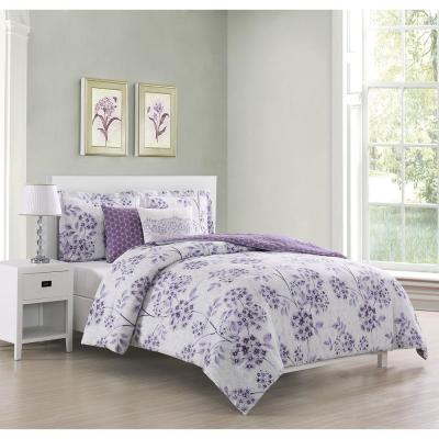 Bistro 5-Piece Reversible Purple Queen Comforter Set