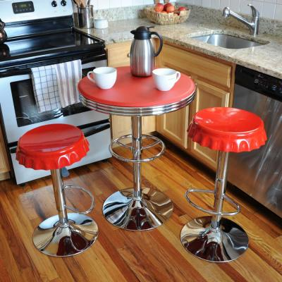 Retro Style Soda Cap Adjustable Height Red Bar Stool and Table Set (3-Piece)