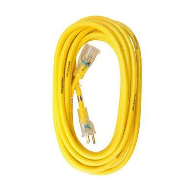 SJTW Premium 25 ft. 14/3 13 Amp Lighted End Yellow Jacket