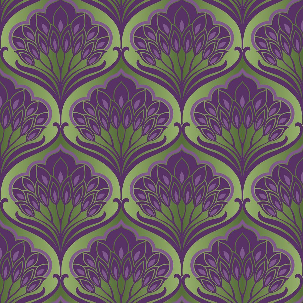 Pavonis Purple City Un-Pasted Wallpaper