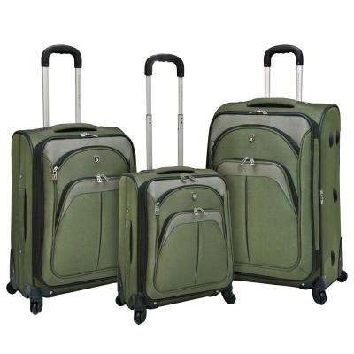 3-Piece Expandable Vertical Luggage Set with Spinner Wheels and EVA-Reinforced Polyester Construction, Green