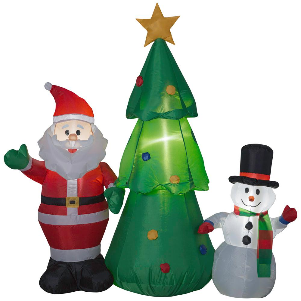 pre lit inflatable santa snowman and christmas tree airblown scene
