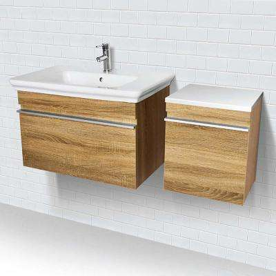 31.5 in. Wall-Mount Vanity in Hickory with White Vitreous China Top and White Basin