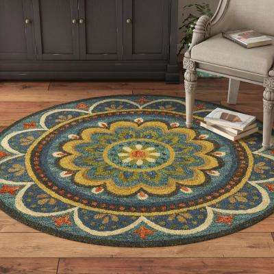 4 Round Bright Floral Area Rugs Rugs The Home Depot