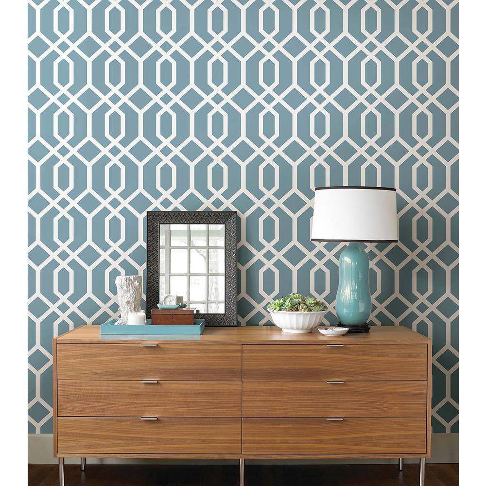 Brewster Trellis Blue Montauk Wallpaper Fd23272 The Home