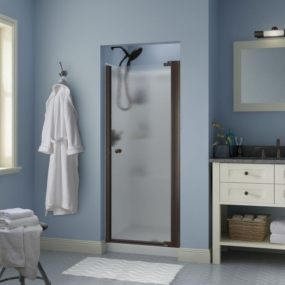 Delta Silverton 30 in. x 64-3/4 in. Semi-Frameless Contemporary Pivot Shower Door in Bronze with Rain Glass