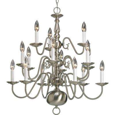 Americana Collection 15-Light Brushed Nickel Chandelier  sc 1 st  The Home Depot & Nickel - Chandeliers - Lighting - The Home Depot azcodes.com