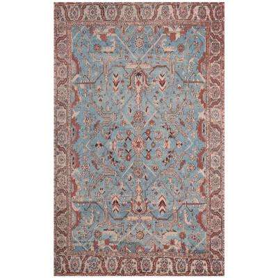Classic Vintage Blue/Red 6 ft. x 9 ft. Area Rug