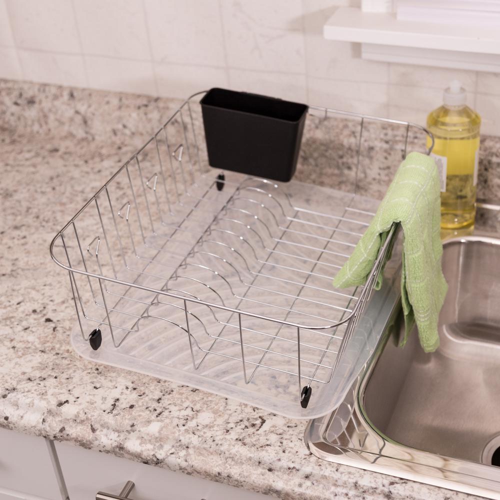 Dish Rack and Drain Board in Chrome