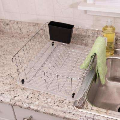 Dish Rack and Drain Board in Chrome