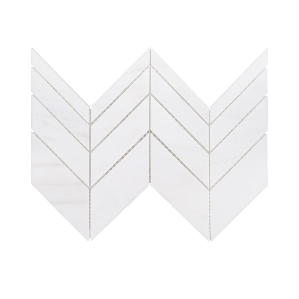 Jeff Lewis Mapleton White Chevron 7 in. x 12 in. x 10 mm Honed Marble Mosaic Wall/Floor Tile