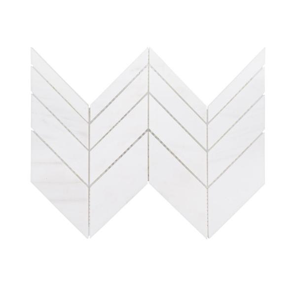 Mapleton White 7 in. x 12 in. Chevron Honed Marble Wall and Floor Mosaic Tile (0.583 sq. ft./Each)