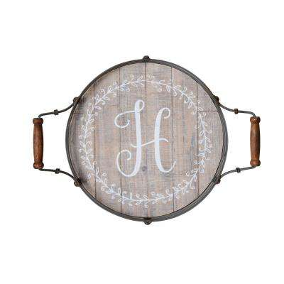 19 in. Round Monogram Wood Tray with Metal Handles