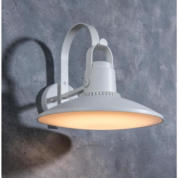 Lutec Coastal Cape Cod White Outdoor Integrated Led Wall Mount Barn Light Sconce Lantern 5274602331 The Home Depot