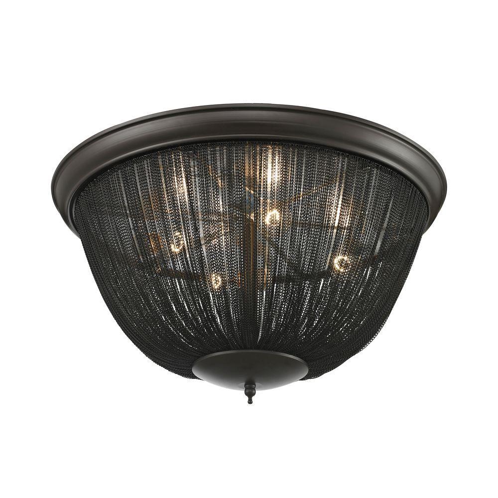 Titan Lighting Pesaro 4-Light Oil Rubbed Bronze Flush Mount