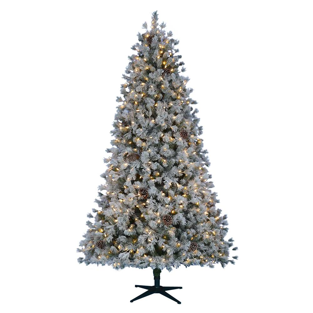 Home Accents Holiday 7.5 ft. Pre-Lit LED Flocked Pine Artificial Christmas Tree with 500 Warm White Lights