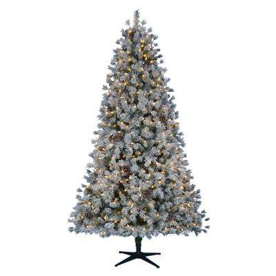 7.5 ft. Pre-Lit LED Flocked Lexington Pine Artificial Christmas Tree ... - Pre-decorated - Pre-Lit Christmas Trees - Artificial Christmas Trees
