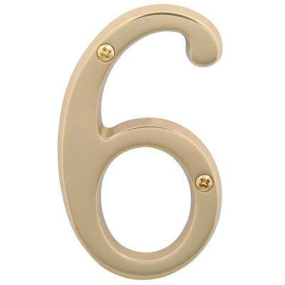 4 in. Bright Brass Classic House Number 6