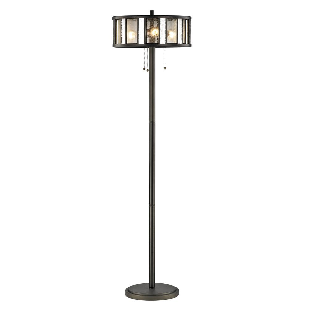 Edith 3-Light Bronze Floor Lamp with Silver Mercury and Clear Seedy