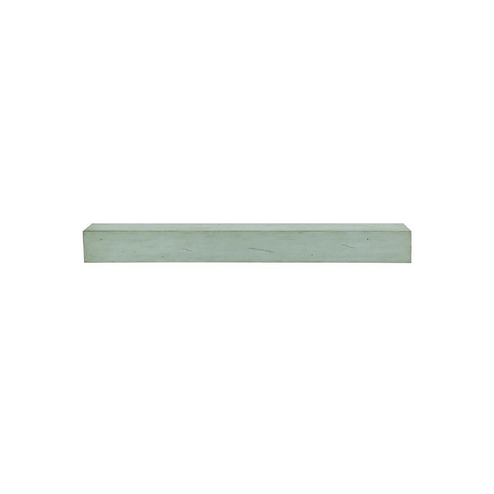 Dakota 4 ft. Sage Distressed Cap-Shelf Mantel with Side Storage Drawers