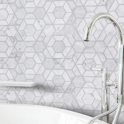 Bronson White  10.125 in. x 11.625 in. Geometric Marble Wall and Floor Mosaic Tile (0.817 sq. ft./Each)