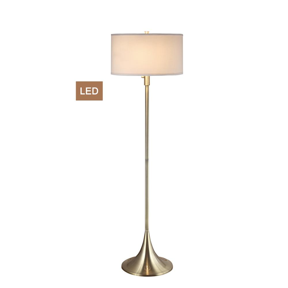 Artiva 63 in antique satin brass 2 light led floor lamp with dimmer antique satin brass 2 light led floor lamp with dimmer aloadofball