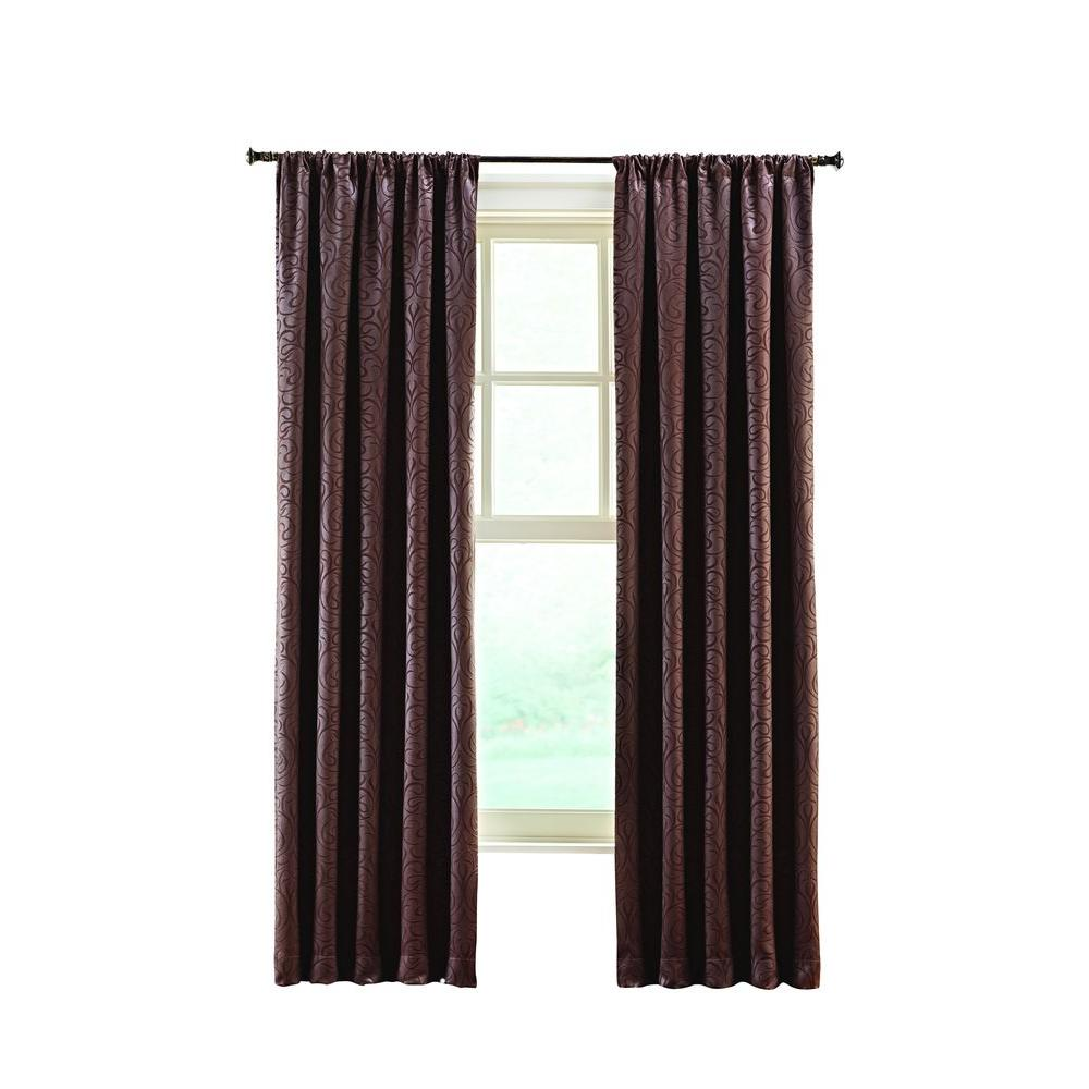Home Decorators Collection Brown Stylized Scroll Embossed Darkening Curtain 50 In W X 95 In