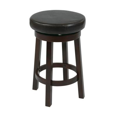 Metro 24 in. Espresso Faux Leather Round Barstool